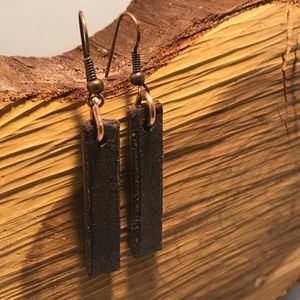 Beautiful brown leather earrings with copper hook